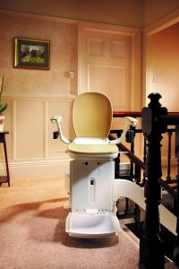 Stairlift at the top of a staircase