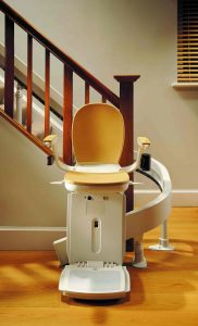 Stairlift at the bottom of a staircase